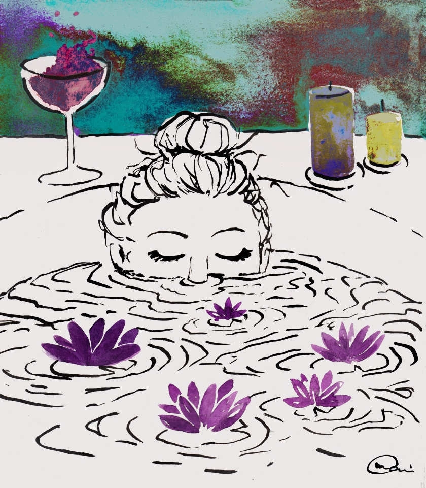 bathtub and loto flowers signed